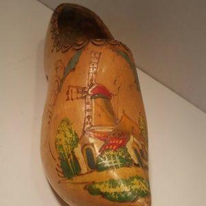 Vintage Hand Carved Painted Dutch Wooden Shoe Clog